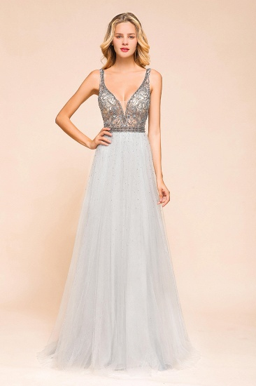 Charming V-Neck Tulle Long Prom Dress With Crystals On Sale_1