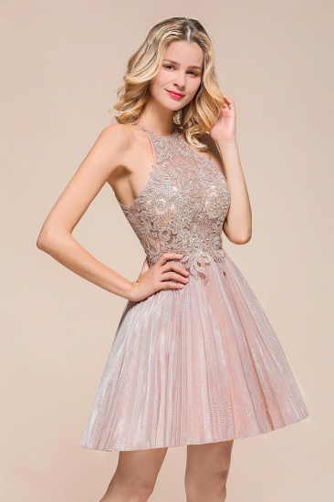 BMbridal Lovely Halter Lace Short Prom Dress Sleeveless Mini Party Gowns_4