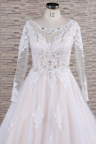 BMbridal Elegant Longsleeves Jewel Lace Wedding Dresses Jewel Tulle Champagne Bridal Gowns On Sale_5