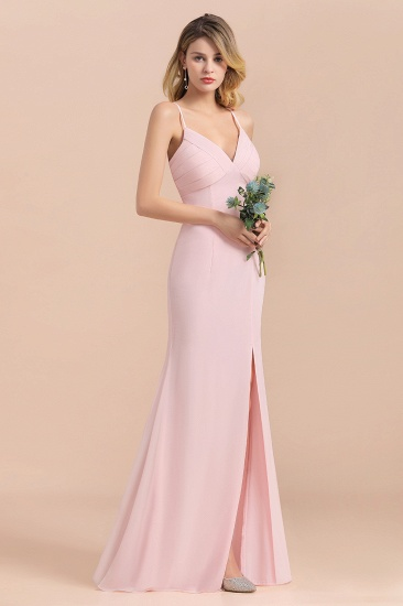 Affordable Sheath V-Neck Blushing Pink Chiffon Bridesmaid Dress with Spaghetii Straps_5