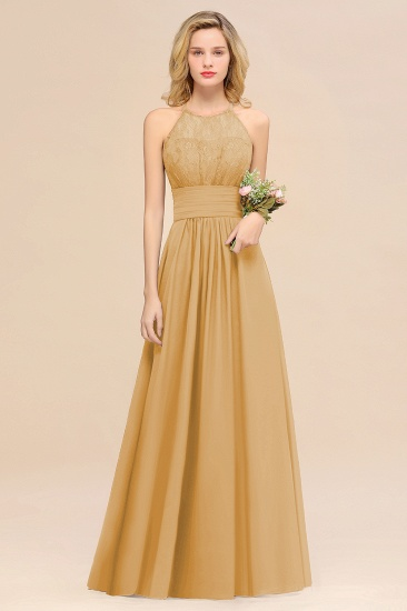 Elegant Halter Ruffles Sleeveless Grape Lace Bridesmaid Dresses Cheap_13