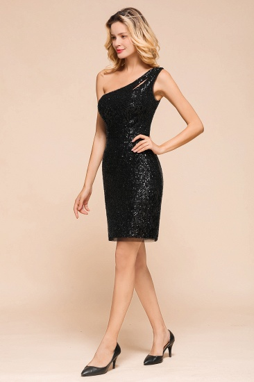 BMbridal Sexy Black Sequins Short Prom Dress One Shoulder Homecoming Dress_8