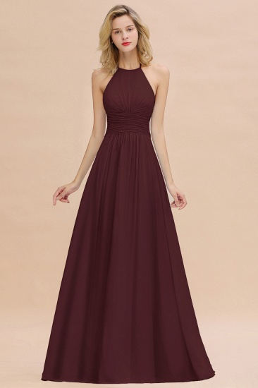 Glamorous Halter Backless Long Affordable Bridesmaid Dresses with Ruffle_47