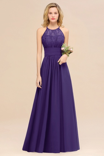 Elegant Halter Ruffles Sleeveless Grape Lace Bridesmaid Dresses Cheap_19