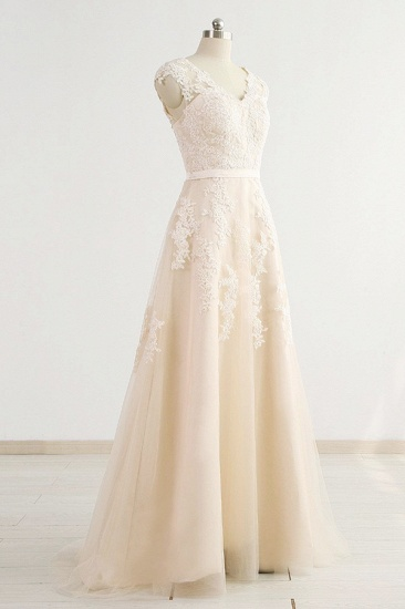 BMbridal Stylish Straps Sleeveless Champagne Wedding Dresses A-line Lace Bridal Gowns Online_4
