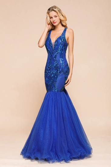 Gorgeous Royal Blue Mermaid Prom Dress Long Sequins Evening Party Gowns Online_8