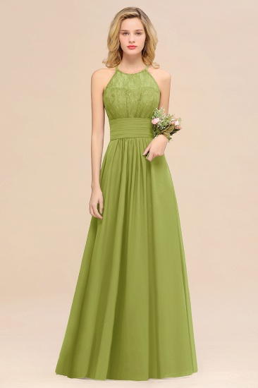 Elegant Halter Ruffles Sleeveless Grape Lace Bridesmaid Dresses Cheap_34