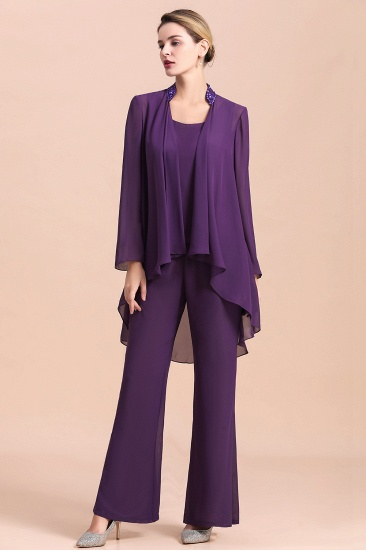 Affordable Straps Beading Grape Chiffon Mother of Bride Jumpsuit Online with Wrap