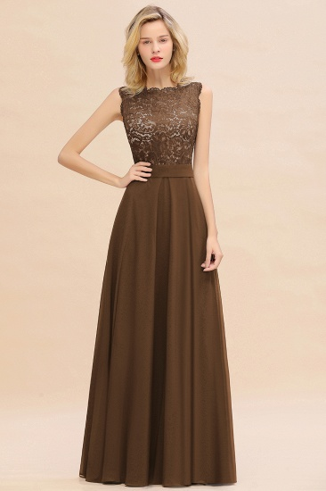 Exquisite Scoop Chiffon Lace Bridesmaid Dresses with V-Back_12