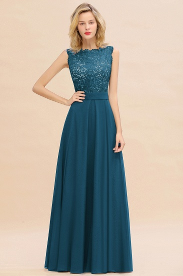 Exquisite Scoop Chiffon Lace Bridesmaid Dresses with V-Back_27