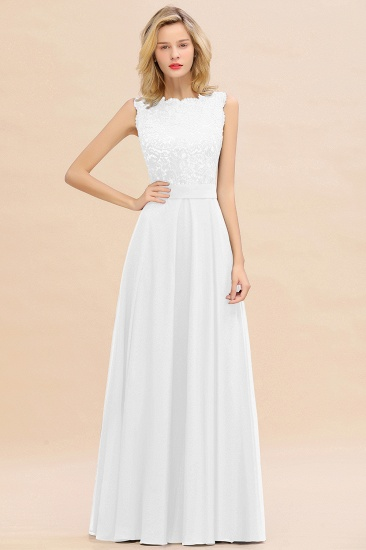 Exquisite Scoop Chiffon Lace Bridesmaid Dresses with V-Back_1