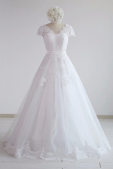 Glamorous Shortsleeves V-neck Lace Wedding Dresses White A-line Tulle Bridal Gowns With Appliques On Sale_2