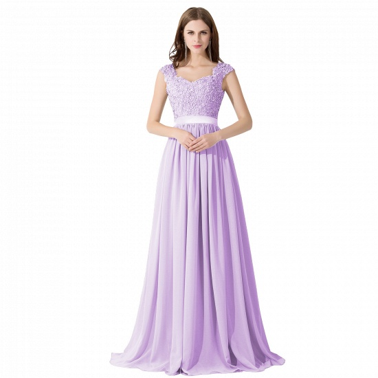 BMbridal A-line V Neck Chiffon Bridesmaid Dress with Appliques_5