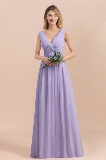 Gorgeous V-Neck Ruffle Lilac Chiffon Affordable Bridesmaid Dress with Ruffle