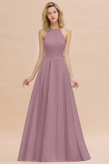 Glamorous Halter Backless Long Affordable Bridesmaid Dresses with Ruffle_43