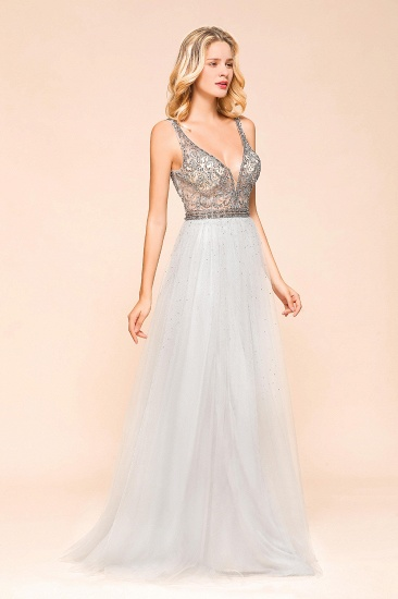 Charming V-Neck Tulle Long Prom Dress With Crystals On Sale_4