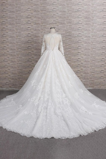 Elegant V-neck Longsleeves Lace Wedding Dresses A-line Tulle Bridal Gowns With Appliques Online_3