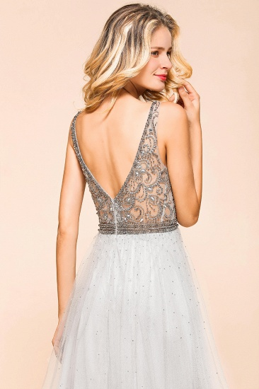 Charming V-Neck Tulle Long Prom Dress With Crystals On Sale_8