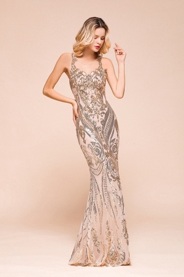 BMbridal Gorgeous Champagne Sequins Mermaid Prom Dress Long Evening Gowns Online_6