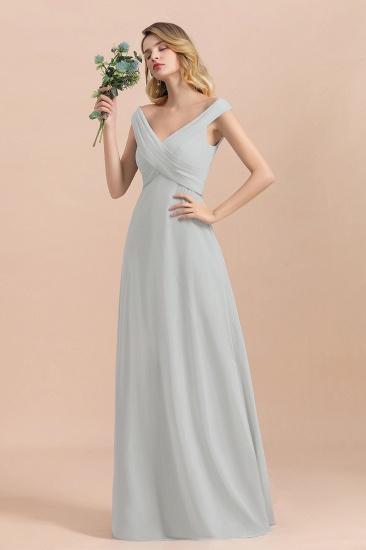 Modest Off-the-Shoulder Mist Chiffon Bridesmaid Dresses with Pleats_7