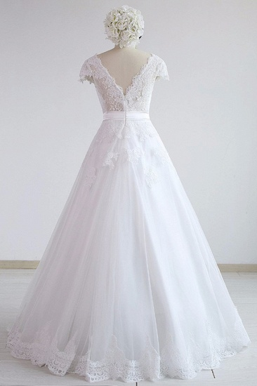 Glamorous Shortsleeves V-neck Lace Wedding Dresses White A-line Tulle Bridal Gowns With Appliques On Sale_3