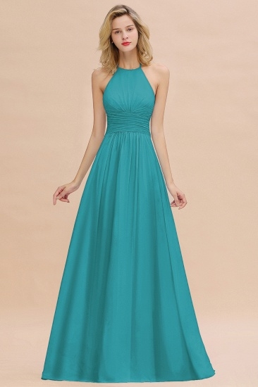 Glamorous Halter Backless Long Affordable Bridesmaid Dresses with Ruffle_32