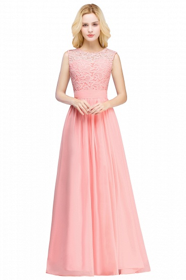 BMbridal Elegant Sheath Crew Sleeveless Lace Top Chiffon Bridesmaid Dress_6