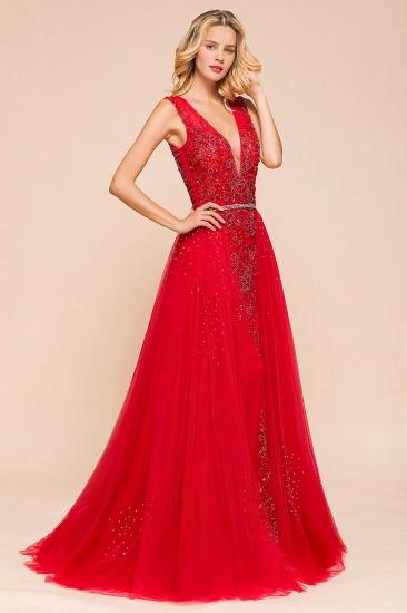 Detachable Red V-Neck Long Prom Dress Sleeveless Beadings Tulle Evening Gowns_7