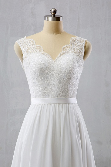 BMbridal Elegant Straps Sleeveless Chiffon Wedding Dresses White A-line Bridal Gowns Online_4