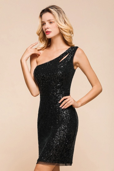 BMbridal Sexy Black Sequins Short Prom Dress One Shoulder Homecoming Dress_9