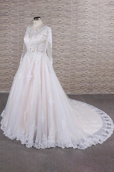 BMbridal Elegant Longsleeves Jewel Lace Wedding Dresses Jewel Tulle Champagne Bridal Gowns On Sale_4