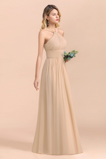 Gorgeous Straps Sleeveless Champagne Chiffon Affordable Bridesmaid Dresses Online with Ruffle_8