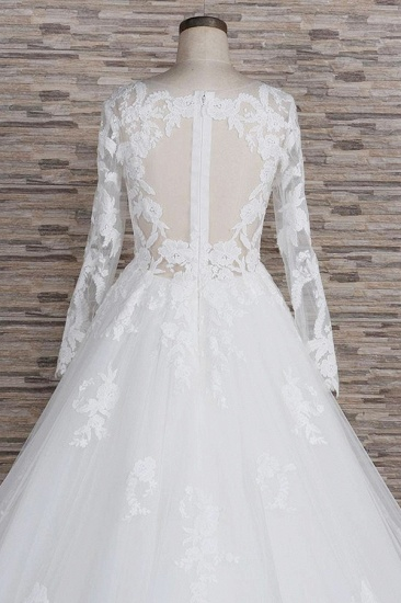Modest Jewel Longsleeves A-line Wedding Dresses White Tulle Lace Bridal Gowns With Appliques On Sale_7