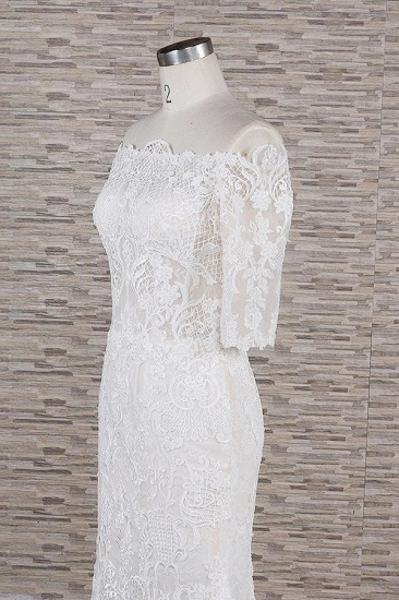 Unique Halfsleeves Lace Mermaid Wedding Dresses Champagne Bateau Bridal Gowns On Sale_6