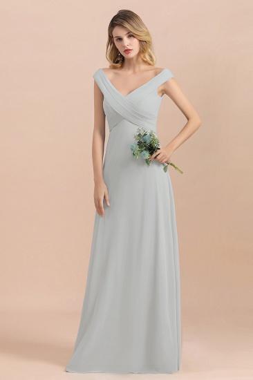 Modest Off-the-Shoulder Mist Chiffon Bridesmaid Dresses with Pleats_6
