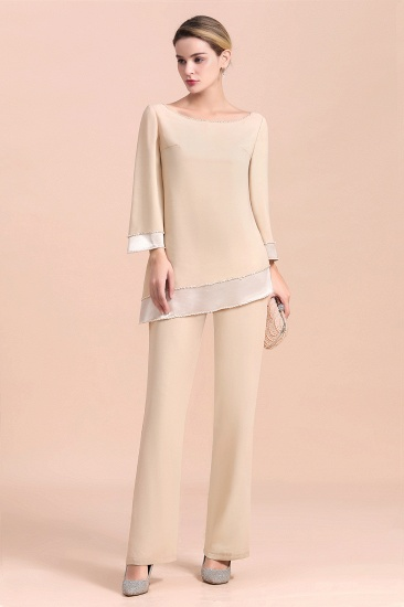 Chic Round-Neck Champagne Chiffon Mother of Bride Jumpsuit Online