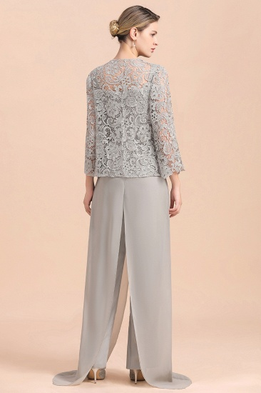 BMbridal Elegant Silver Lace Top Chiffon Mother of Bride Jumpsuit Online with Wrap_3