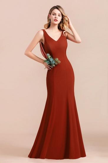Charming Mermaid V-Neck Drapped Back Bridesmaid Dress Online_6
