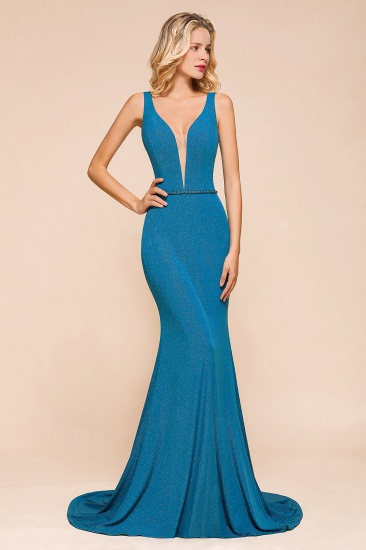 Shinning Blue Mermaid Long Prom Dress V-Neck Sleeveless Long Evening Gowns_7