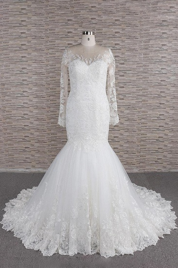 BMbridal Modest Longsleeves jewel Mermaid Wedding Dresses White Tulle Lace Bridal Gowns With Appliques Online_1