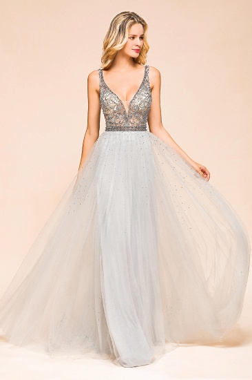 Charming V-Neck Tulle Long Prom Dress With Crystals On Sale_7
