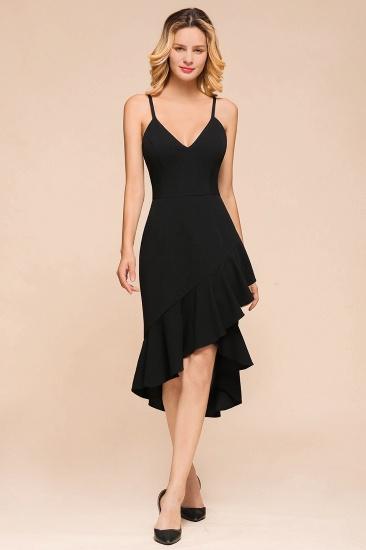 Sexy Black Spaghetti-Strap Short Prom Dress Mermaid Ruffles Homecoming Dress_1