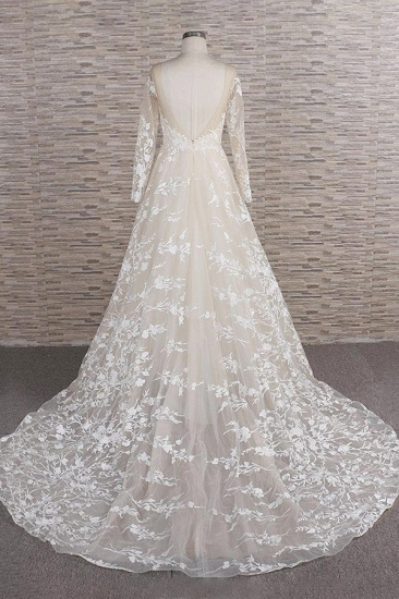 BMbridal Glamorous Jewel Longsleeves Champagne Wedding Dresses A-line Lace Bridal Gowns With Appliques On Sale_3