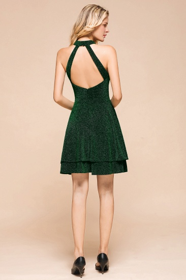 BMbridal Green Shinning Halter Short Prom Dress Mini Party Gowns_4