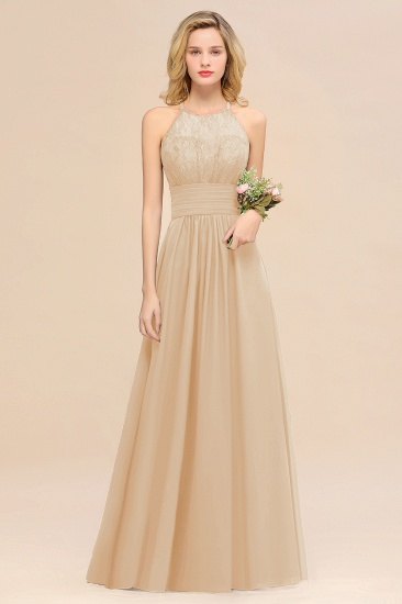 Elegant Halter Ruffles Sleeveless Grape Lace Bridesmaid Dresses Cheap_14
