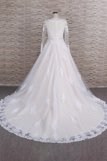 BMbridal Elegant Longsleeves Jewel Lace Wedding Dresses Jewel Tulle Champagne Bridal Gowns On Sale_3