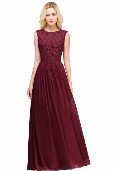 BMbridal Elegant Sheath Crew Sleeveless Lace Top Chiffon Bridesmaid Dress_5