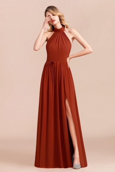 Rust Halter Long Bridesmaid Dresses Online With Front Split_5