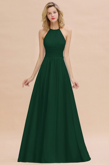 Glamorous Halter Backless Long Affordable Bridesmaid Dresses with Ruffle_31