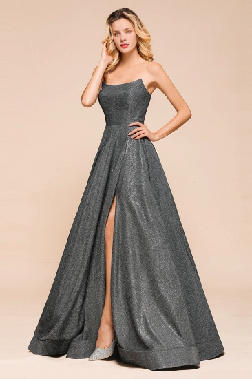 BMbridal Shinning Strapless Long Prom Dress Lace-up Evening Gowns With Split_6